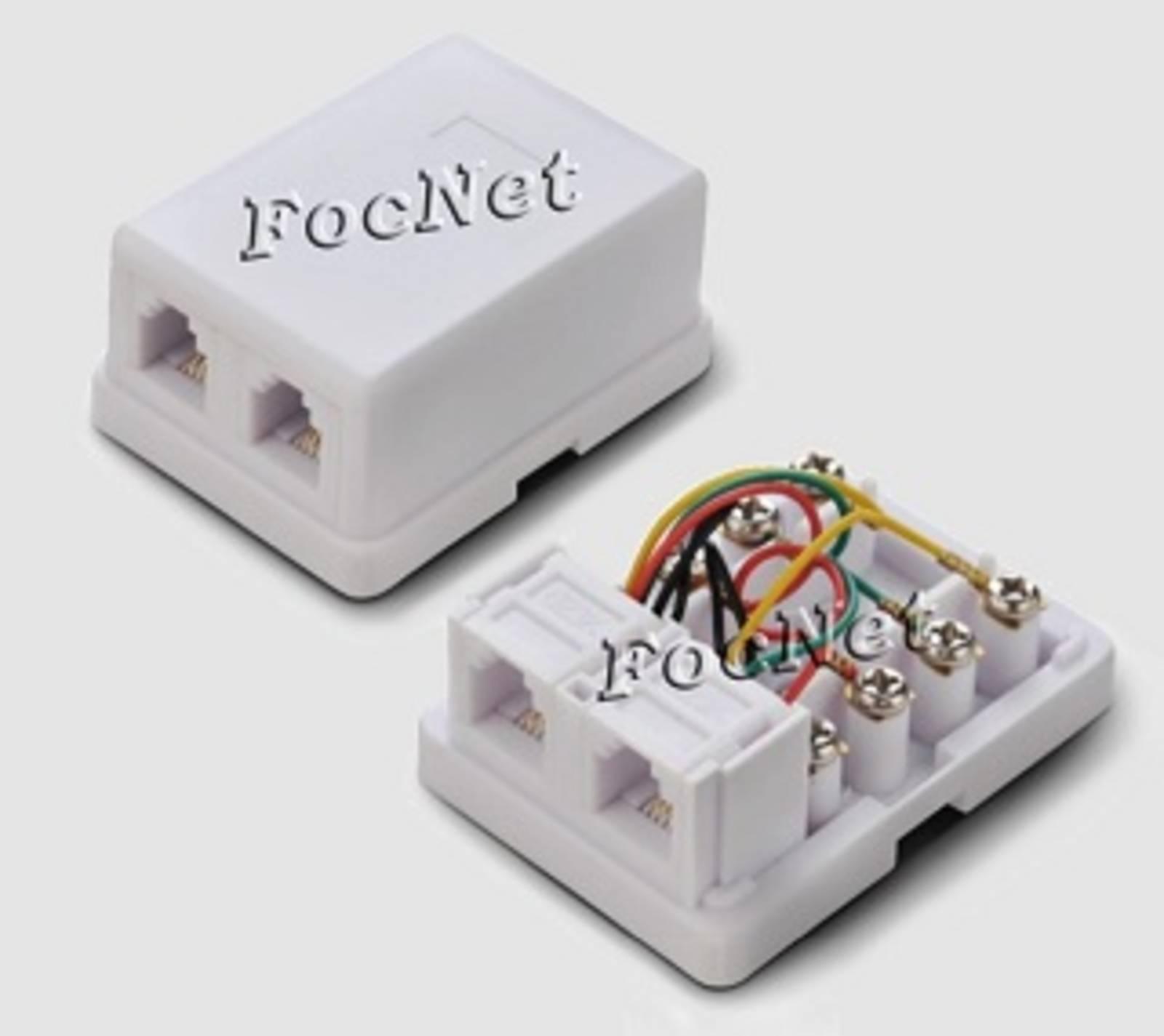 Розетка телефонная 2xRJ-11 6P-4C
